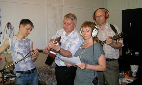 Во время записи: С. Карасев, Ф. Анисимов, Е. Бойко, А. Постников. Фото А. Ширшикова
